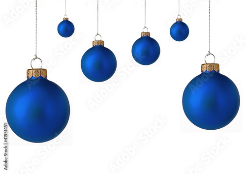 Several  blue christmas baubles