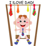 Dad Day  .  A boy on the  swing.