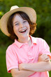 portrait of young sweet boy with straw hat 2