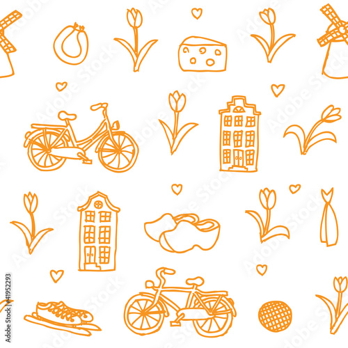Holland orange seamless vector pattern