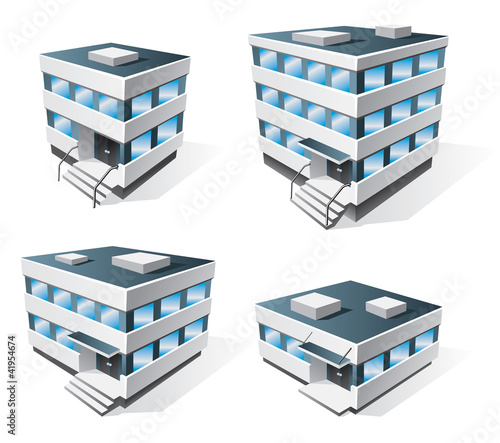 Four office buildings vector icons in cartoon style