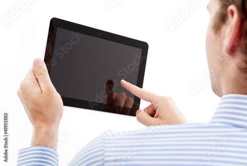 holding an point on tablet pc businessmen