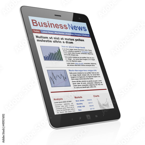 Digital news on tablet computer screen