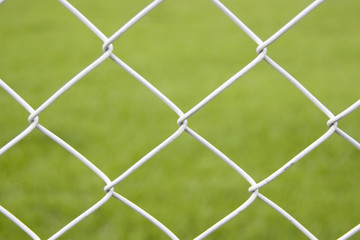 Wire Fence With Green Background