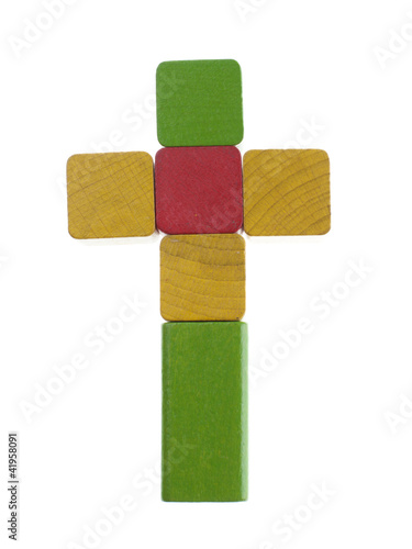 Cross concept wooden cubes