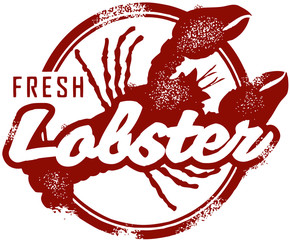 Fresh Lobster Seafood Stamp