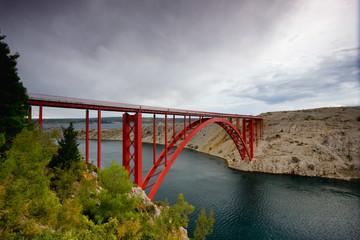 Red suspension bridge, Maslenica Croatia