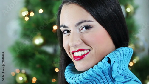 Christmas girl smiling to camera
