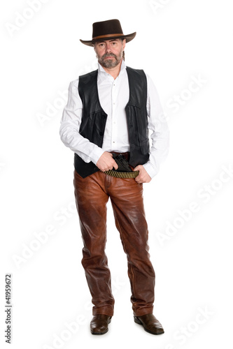 man in leather pants with gun
