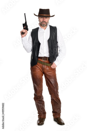 man cowboy with gun