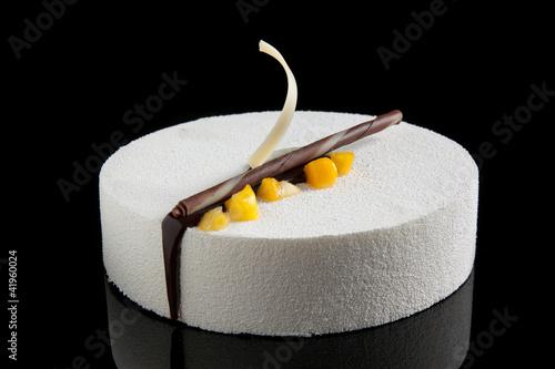 white chocolate mousse and mango