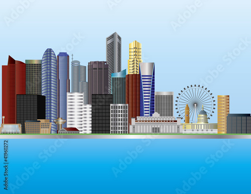 Singapore City Skyline Illustration