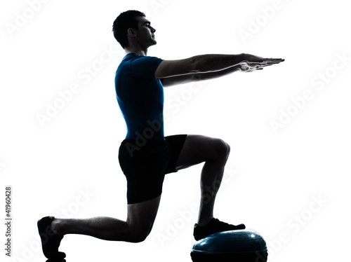 man exercising bosu workout fitness posture