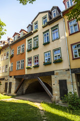 Houses on Kraemerbruecke - Merchants Bridge in Erfurt, Germany.