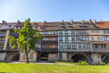 Houses on Kraemerbruecke - Merchants Bridge in Erfurt, Germany