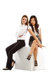 Asian and Caucasian business women