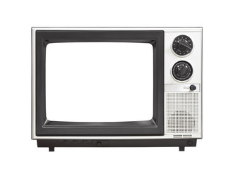 1980's Portable Television Set with Empty Screen Isolated