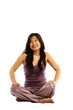 Young asian woman cross legged looking up
