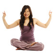 Asian woman in lotus position