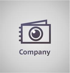Фотокамера и фотоальбом, логотип для фотостудии