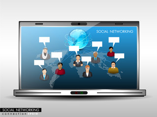 Social network, communication in the global networks showing