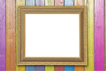 Wood frame  frame on background.