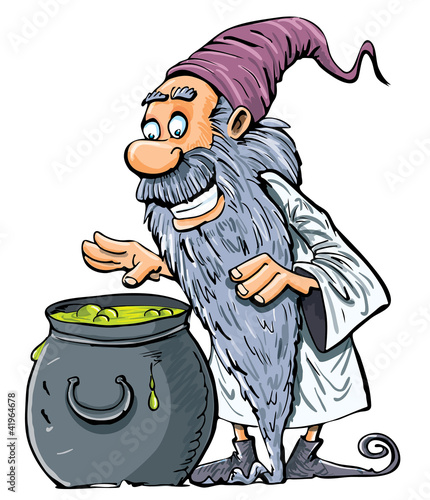 Cartoon Wizard with boiling cauldron. Isolated on white