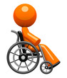 Orange Man In Wheel Chair Side View