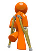 Orange Man with Crutches Rear View