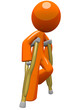 Orange Man  with Crutches Moving About