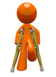 Orange Man with Crutches Front View