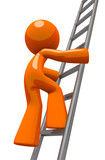 Orange Man Climbing Ladder Industrial