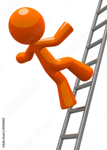 Orange Man Falling From Ladder Accident