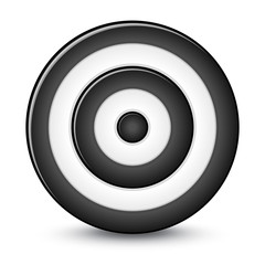 Black darts target aim on white background