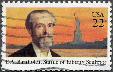 USA - 1985: shows Frederic Auguste Bartholdi (1834-1904)