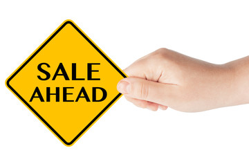 Sale Ahead traffic sign with hand