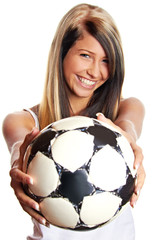 smiling happy young girl with ball - championship