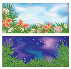 Set tropical banners