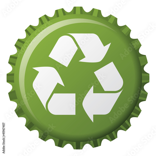 bottle cap with recycling icon