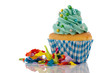 Cupcake in blue and green for birthday