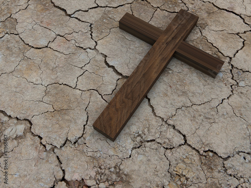 Cross on outdried ground