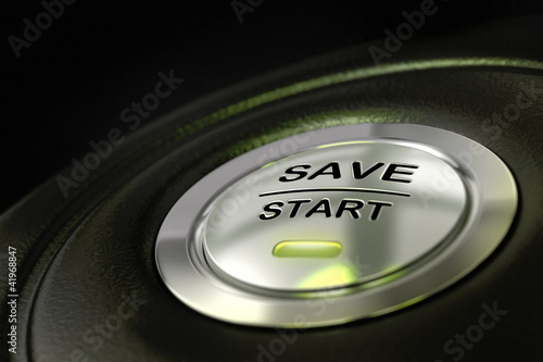 abstract save start button, saving money concept