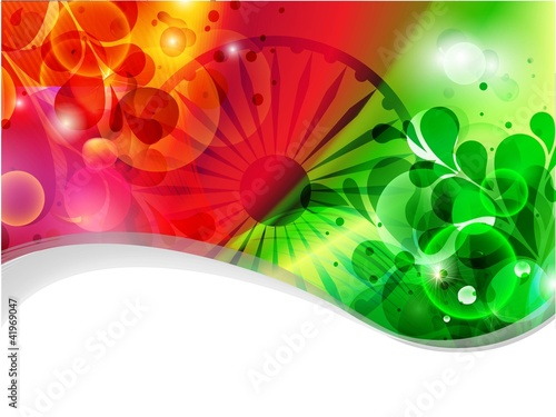 Creative flag color background with wave, shine and floral