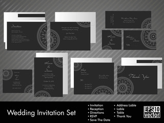 A complete wedding Invitation kit.