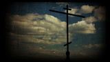 Cross with Heaven. Vintage imitation clip, HD.