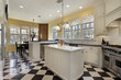 Kitchen with black and white flooring