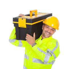 Portrait of worker wearing safety jacket