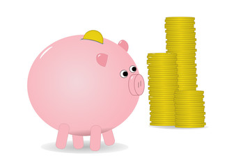 Piggy bank with money coins