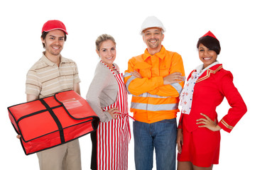 Diverse group of smiling workers. Isolated on white