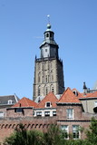 Church and city wall in Zutphen (Netherlands)
